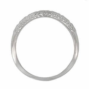 Art Deco Wheat and Olive Leaves Engraved Curved Wedding Band in 14 Karat White Gold - Click to enlarge