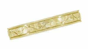 Art Deco Vintage Style Engraved Floral Wedding Ring with Millgrain Edge in 14 Karat Yellow Gold - Click to enlarge