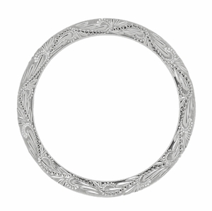 Hand Engraved Scrolls and Leaves Antique Design Wedding Band in 14 Karat White Gold - Item R1161 - Image 2