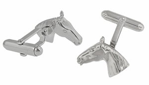 Horse Head Cufflinks in Sterling Silver - Item SCL122 - Image 1