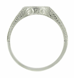 Art Deco Carved Wheat and Scrolls Curved Wedding Band in Platinum - Click to enlarge