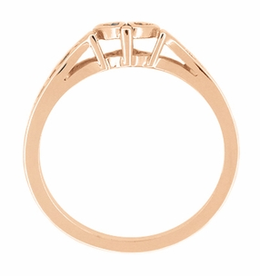 Cuddling Sweet Hearts Filigree Ring in 14 Karat Rose ( Pink ) Gold - Item R384R - Image 1