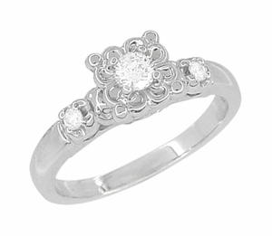 Retro Moderne Lucky Clover White Sapphire Engagement Ring in 14 Karat White Gold - Click to enlarge