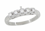 Retro Moderne White Sapphire Filigree Wedding Ring in 14 Karat White Gold