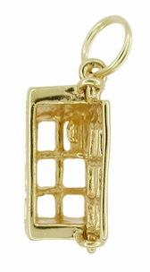 Movable Telephone Booth Charm in 14 Karat Gold - Click to enlarge