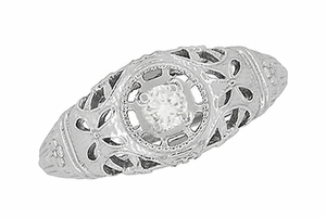 Art Deco Filigree White Sapphire Ring in 14 Karat White Gold - Item R428WWS - Image 3