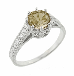 Royal Crown 1 Carat Cognac Diamond Antique Style Engraved Engagement Ring in 18 Karat White Gold  - Item R460CD - Image 1