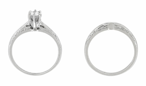 Engraved Scrolls Art Deco Diamond Engagement Ring and Wedding Ring Set in Platinum - Click to enlarge