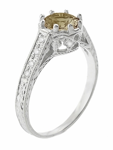 Royal Crown 1 Carat Cognac Diamond Antique Style Engraved Engagement Ring in 18 Karat White Gold  - Item R460CD - Image 2