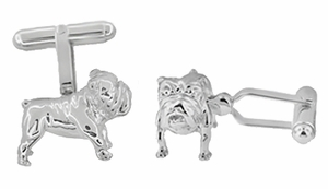 English Bulldog Cufflinks in Sterling Silver - Click to enlarge