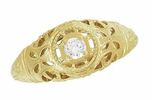 Art Deco Filigree White Sapphire Ring in 14 Karat Yellow Gold - Item R428YWS - Image 3