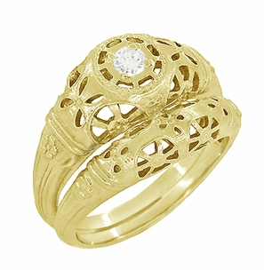 Art Deco Filigree White Sapphire Ring in 14 Karat Yellow Gold - Item R428YWS - Image 4