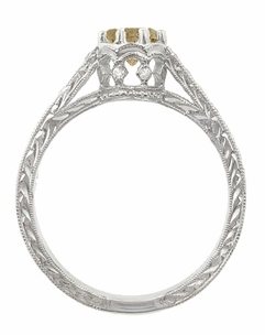 Royal Crown 1 Carat Cognac Diamond Antique Style Engraved Engagement Ring in 18 Karat White Gold  - Click to enlarge
