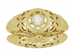Art Deco Filigree White Sapphire Ring in 14 Karat Yellow Gold - Click to enlarge