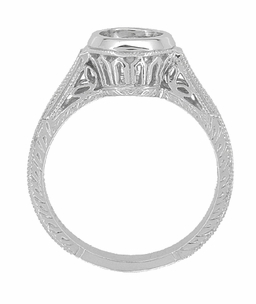Art Deco 1 - 1.25 Carat Platinum Filigree Engraved Wheat Engagement Bezel Ring Setting - Item R306P1 - Image 1