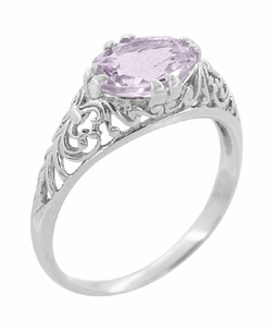 Edwardian Oval Rose de France Filigree Engagement Ring in Sterling Silver - Click to enlarge
