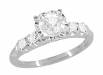 Mid Century Vintage Style Diamond Engagement Ring in 14 Karat White Gold