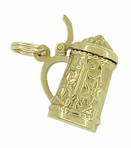Vintage Movable Beer Stein Charm in 18 Karat Yellow Gold - Click to enlarge