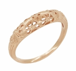 Art Deco Filigree Wedding Ring in 14 Karat Rose Gold