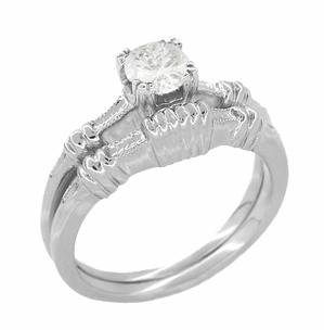 Art Deco Hearts and Clovers White Sapphire Solitaire Engagement Ring in Platinum - Click to enlarge