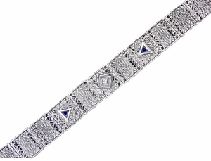 Art Deco Filigree Diamond and Sapphire Bracelet in 14 Karat White Gold - Click to enlarge
