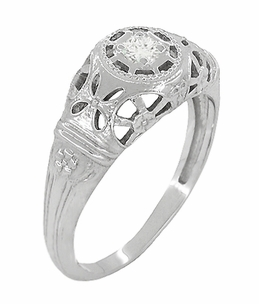 Art Deco Open Flowers Filigree Diamond Engagement Ring in 14 Karat White Gold | Low Profile - Item R428 - Image 1