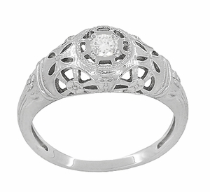 Art Deco Open Flowers Filigree Diamond Engagement Ring in 14 Karat White Gold | Low Profile - Item R428 - Image 2