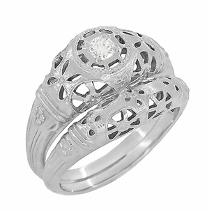 Art Deco Open Flowers Filigree Diamond Engagement Ring in 14 Karat White Gold | Low Profile - Item R428 - Image 4