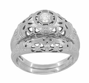 Art Deco Open Flowers Filigree Diamond Engagement Ring in 14 Karat White Gold | Low Profile - Item R428 - Image 5