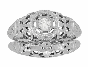 Art Deco Open Flowers Filigree Diamond Engagement Ring in 14 Karat White Gold | Low Profile - Item R428 - Image 6