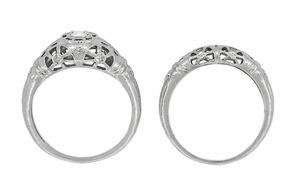 Art Deco Open Flowers Filigree Diamond Engagement Ring in 14 Karat White Gold | Low Profile - Item R428 - Image 7