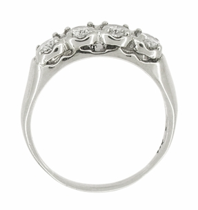 Mid Century Antique Diamond Wedding Ring in 14 Karat White Gold - Click to enlarge