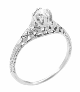 Art Deco Filigree Flowers and Wheat Engraved White Sapphire Engagement Ring in 18 Karat White Gold - Click to enlarge