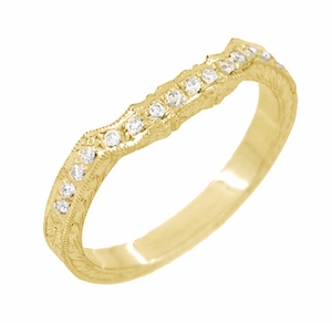 Antique Style Loving Hearts Contoured Art Deco Engraved Wheat Diamond Wedding Ring in 18 Karat Yellow Gold - Item WR459Y - Image 2