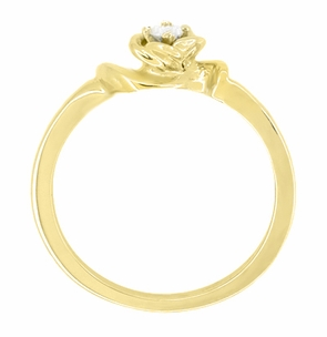 Retro Moderne Rose White Sapphire Engagement Ring in 14 Karat Yellow Gold - Click to enlarge