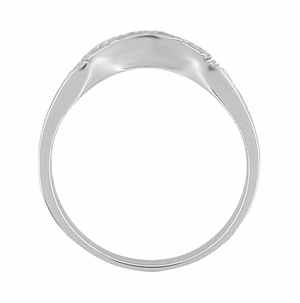 Art Deco Curved Wedding Band in 18 Karat White Gold - Item R717 - Image 4