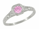Art Deco Filigree Diamond and Pink Sapphire Engagement Ring in 18 Karat White Gold