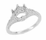 Art Deco 3/4 Carat Crown of Leaves Filigree Engagement Ring Setting in 18 Karat White Gold