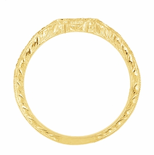 Antique Style Loving Hearts Contoured Art Deco Engraved Wheat Diamond Wedding Ring in 18 Karat Yellow Gold - Item WR459Y - Image 4