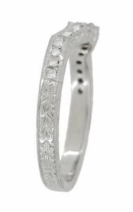 Art Deco Loving Hearts Contoured Vintage Engraved Wheat Diamond Wedding Ring in Platinum - Item WR459P - Image 3