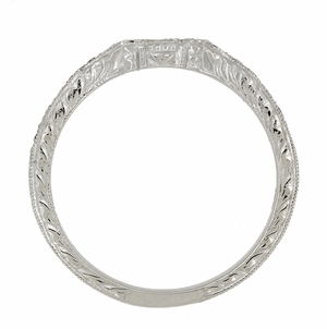 Art Deco Loving Hearts Contoured Vintage Engraved Wheat Diamond Wedding Ring in Platinum - Click to enlarge
