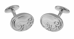 Victorian Scrolls and Fleur-de-Lis Engravable Cufflinks in Sterling Silver - Item SCL229W - Image 1