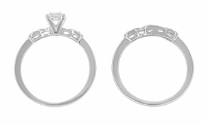 Retro Moderne White Sapphire Engagement Ring and Wedding Ring Set in 14 Karat White Gold - Click to enlarge