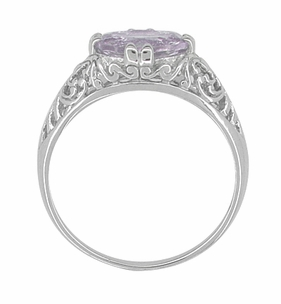 Edwardian Oval Rose de France Filigree Promise Ring in Sterling Silver - Item R1125RF - Image 2
