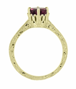 Art Deco Crown Filigree Scrolls 1.5 Carat Rhodolite Garnet Engagement Ring in 18 Karat Yellow Gold - Item R199YG - Image 3