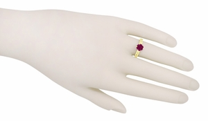Art Deco Crown Filigree Scrolls 1.5 Carat Rhodolite Garnet Engagement Ring in 18 Karat Yellow Gold - Click to enlarge