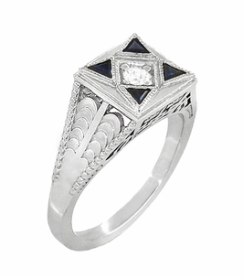 Art Deco Engraved Filigree 4 Stone Blue Sapphire and Diamond Antique Style Ring in 18 Karat White Gold - Click to enlarge