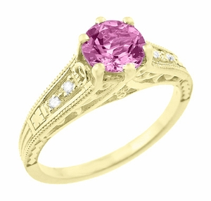 Antique Style Pink Sapphire and Diamonds Filigree Art Deco Engagement Ring in 14 Karat Yellow Gold - Click to enlarge
