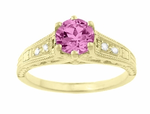 Antique Style Pink Sapphire and Diamonds Filigree Art Deco Engagement Ring in 14 Karat Yellow Gold - Item R158YPS - Image 4