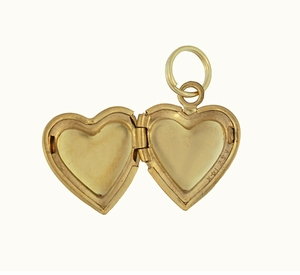 Vintage Floral Heart Engraved Locket Pendant in 14 Karat Yellow Gold - Click to enlarge